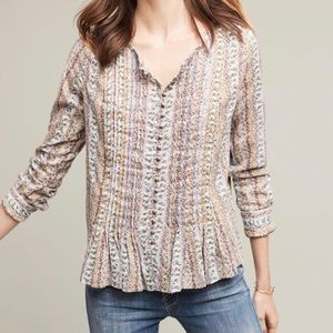 Anthropologie Maeve Gelise Button floral blouse